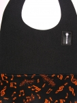 Black Textured DressTiez with Orange Musical Notes on Black Lining
